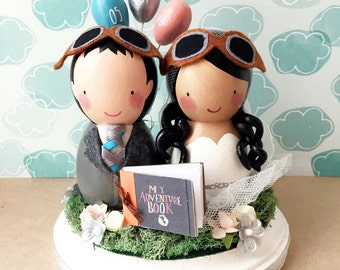 Custom Kokeshi Wedding Cake Topper With Arch or Bunting