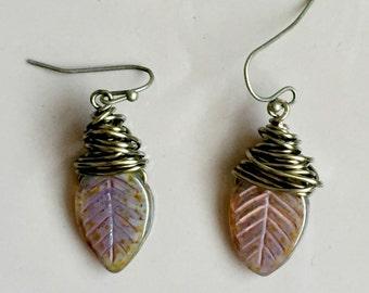 Czech Glass Leaf Earrings,  Bronze Wire Wrapped Earrings, Earthy Artisan Earrings, Nature Jewelry, Czech Glass Jewelry