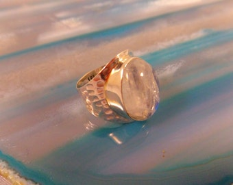 RAINBOW MOONSTONE RING Size 5.5 Sterling Silver