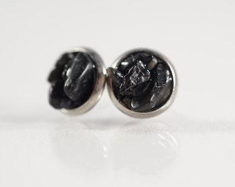 Crystal Stud Earrings - Tourmaline Earrings - Black Tourmaline Earrings - Stainless Steel Stud Earrings - Raw Crystal Earrings