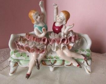 Porcelain Ballerina Women sitting on couch Paris Apartment Shabby Chic