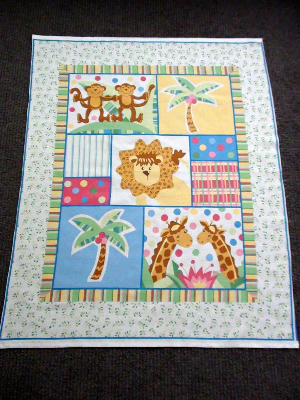 Jungle animal fabric panel nursery cot panel zoo animal for Safari fabric for nursery