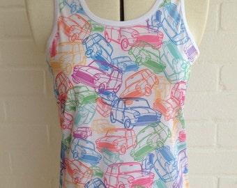 Unique Mini Cooper style design print, on Ladies Racer back vest top.