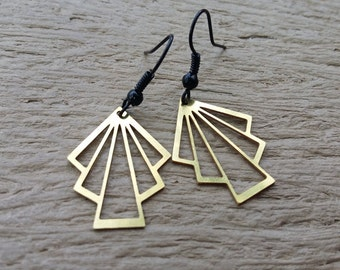 Art deco brass earrings