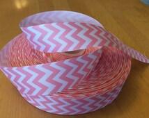"Light Pink Chevron Grosgrain Ribbon 1.5"", Light Pink Chevron Ribbons"