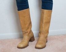 60s/70s Light Brown Leather Subtle Heel Tall Work or Everyday Boots