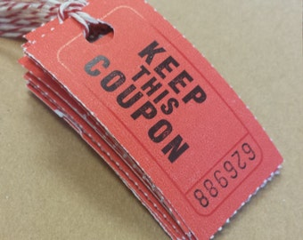 10 ticket tags with strings ticket printed on one side blank on the other side - choose red, green or yellow craft supplies journals planner