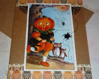 Upcyled Halloween card