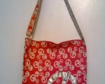 Vintage Pink Peace Sign Shoulder Bag
