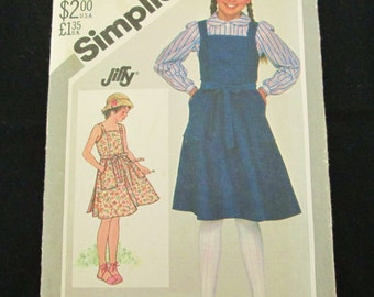 Vintage Simplicity Sewing Pattern 5605 For Children Wrap Sundress, Jumper In Size 12