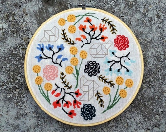 Floral Boogie - Modern cross stitch pattern PDF - Instant download