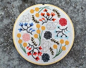 Floral Boogie - Modern cross stitch pattern PDF - Instant download