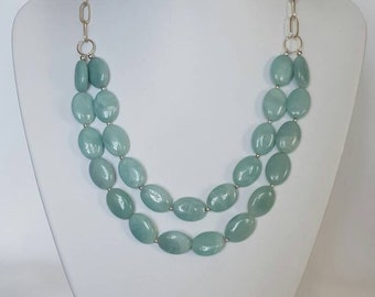 Aqua blue Amazonite and Sterling Silver necklace. Multi strand amazonite bead necklace with hand forged silver chain. Made in Australia