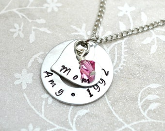Mother Necklace, Mother Jewelry, Mothersday Gift, Washer Necklace, Stamped Necklace, Children Necklace, Birthstone Necklace, Custom Necklace