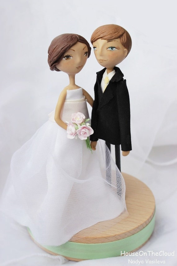 Rustic wedding cake topper rustic Handmade Bride and Groom wedding decor personalized unique wedding cake toppers figurine
