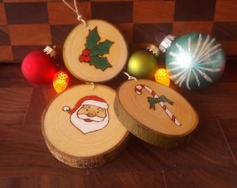 Personalized, Wood slice Christmas tree ornament, custom, rustic, decoration - Boules de Noel en bois, sur mesure, rustique