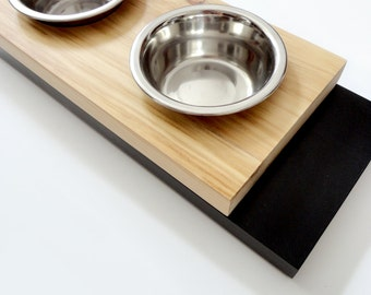 Modern feeder small - Cat or small dog bowls, Minimal design, Wood and black, animalove