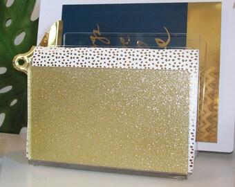 File Sorter-Acrylic-Glitter-Gold-Desk Accessories-NEW-Made in USA