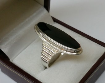925 Silver ring with Onyx 19 mm / size 9 silver ring SR476