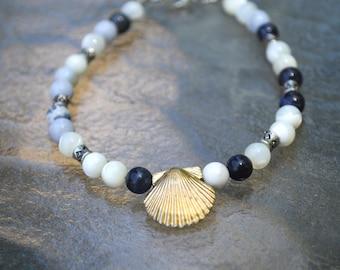 blue sodalite mermaid shell bracelet