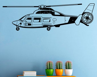 Helicopter Wall Decal Copter Vinyl Sticker Helicopters Decals Home Art Decor (4hlr)