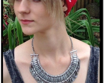 Silver Gypsy Necklace. Vintage Silver Necklace. Silver Coin Necklace. Collar Bib. Gift for her. Gypsy Kuchi Ethnic Afghan Hippie Style
