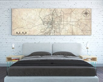 BEND OR Canvas Print Oregon Bend Vintage City map Vintage map Extra Large Gift Panoramic Horizontal Wall Art poster Bedroom wall art canvas