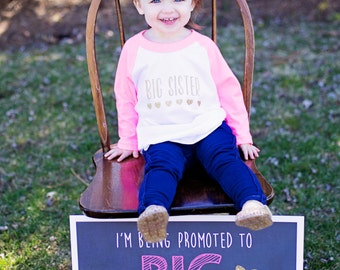 Promoted to Big Sister Sign / Going to Be a Big Sister Sign / Promoted to Big Sister Chalkboard Sign / Baby Number Two Reveal / Digital File