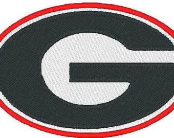 Georgia Bulldogs Football Logo, Embroidery Design, Instant Download, 4x4