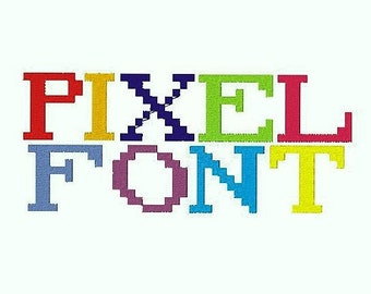 Pixel Embroidery Font, 1,2,3 Inches, Instant Download