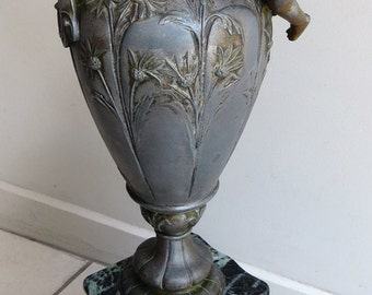 Large Antique French Spelter Urn Vase created by sculpters L&F Moreau - Louis xv1 style
