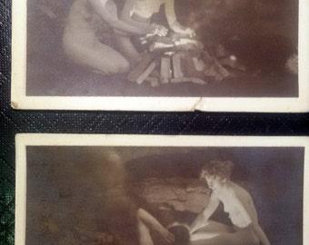 2 Photo, Postcard, 1930s, Glamour, Sensual, Nude, Original, Rare,