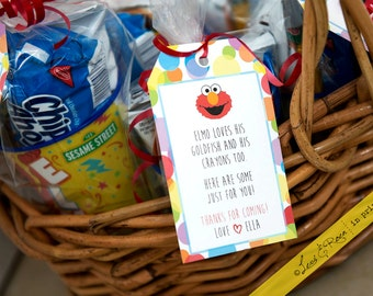 "Sesame Street Party Custom Thank You Favor Tags (Elmo Sesame Theme) - Personalized Digital Print - Printable on 8.5"" x 11"""