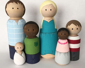 Custom Hand-Painted Peg Doll Family of Six - Peg Dolls - Wooden Dolls