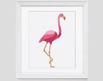 Flamingo Cross Stitch Pattern, flamingo counted cross stitch pattern, modern cross stitch pattern, modern flamingo pattern cross stitch