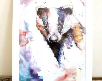 Philippa The Badger Limited Edition A3 Painting Watercolour Colour Print
