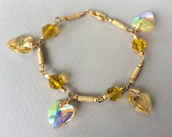 18K Gold and Aurora Borealis Crystal Heart Charm Bracelet