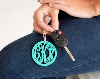Monogram Keychain - Acrylic Monogram Keychain - Monogram Key Chain - Keychain