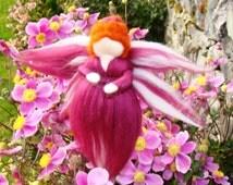 Needle felted Damson Fairy Waldorf Pixie doll Needle felted birthday fairy Hanging Elf Nursery Fairy Guardian Angel Fairy Elf Kendal Fairies