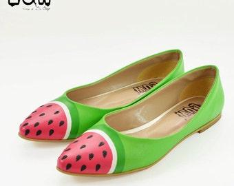 SANDIA - watermelon shoe, fruit shoe, custom design flat, hand painted flat shoe