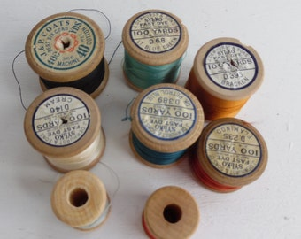 Eight vintage wooden bobbins / cotton reels / reels of sewing thread, Sylco / Dewhursts