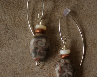 126 Genuine fossil and shell dangle earrings, sterling silver wires, boho, fossil, rustic, artisan
