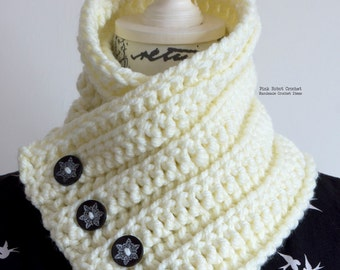 Crochet Cowl - Cream Crochet Cowl - Chunky Crochet Cowl - Buttoned Cowl - Crochet Neck Warmer - Fall/Winter Fashion