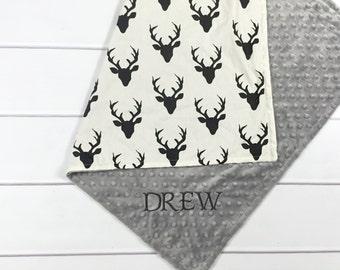 Personalized Baby Blankets - Deer Nursery Bedding - Monogrammed Baby Blankets - Crib blanket - Toddler blanket - Baby Name Deer Blanket