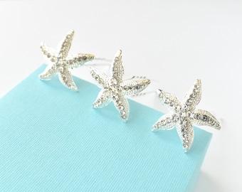 Silver Crystal Rhinestone Starfish Hair Pins Set of 3 Beach Wedding Hair Accessories