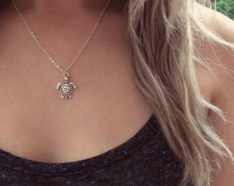 NEW Turtle Necklace, Silver Turtle Necklace, Turtle Choker, Beach Choker, Turtle Jewellery, Mermaid Jewelry, Boho Holiday Necklace