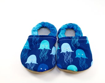 Jellyfish baby shoes boy baby booties soft sole shoes boy toddler shoes crib shoes nautical baby clothes blue baby shoes baby shower gift