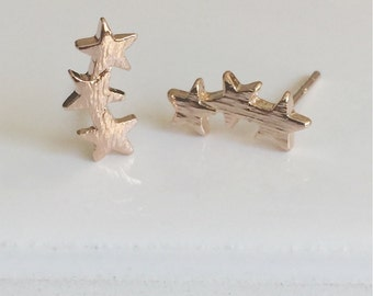 Star Earrings, Gold, Rose Gold & Silver Earrings