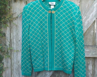 """90's Gold and Teal Sweater/90's Teal Cardigan/Mita Sweater/Size 8/21""""Chest/24""""Long/23""""Sleeve/*FREE GIFT WRAP*"""
