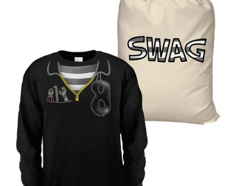 Burglar Costume long sleeve kids t-shirt and SWAG Bag large drawstring bag - Black/Natural